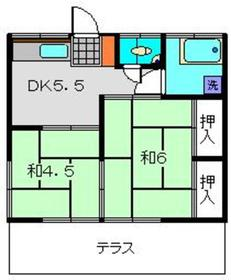 寺田ハイツ1号棟2階Fの間取り画像