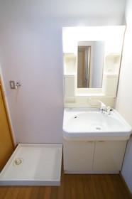 洗髪洗面化粧台と室内洗濯機置場