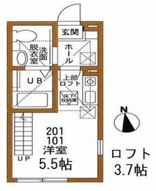 ハーミットクラブハウス日吉エスポワール2階Fの間取り画像
