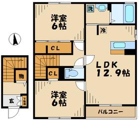 相武台下駅 車14分6.7キロ2階Fの間取り画像
