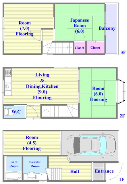 長栄寺8-24 貸家 各部屋が余裕のある広さで、とてもゆったりとした間取りです。