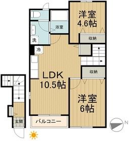ノースサイド レジデンスK2階Fの間取り画像
