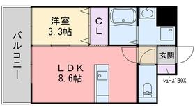 ワイズコート別府駅前8階Fの間取り画像