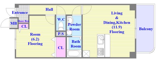 サンヒルズ 人気の全室フローリング。使いやすいゆったりとした間取り。