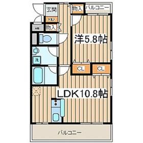 メゾンクレールHiyoshi1階Fの間取り画像