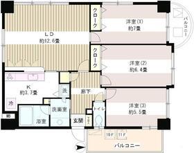 サンハイム12階Fの間取り画像