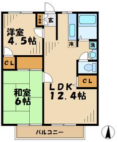 ファミール田倉1階Fの間取り画像