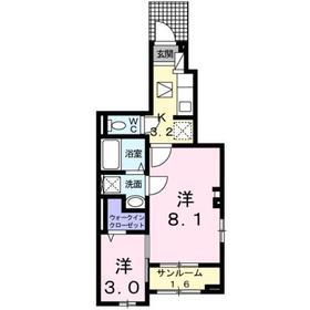 ミルト フリーデ1階Fの間取り画像