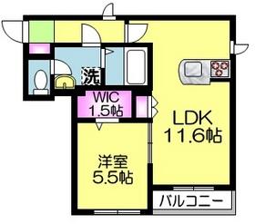 クレベール1階Fの間取り画像