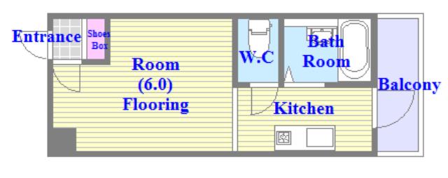 清洲プラザ高井田 うれしいバス・トイレがセパレートの単身さん向けの間取りです。