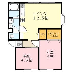 ニューライフ関沢C棟1階Fの間取り画像
