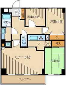 ラナイコート251階Fの間取り画像