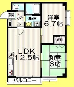パピヨンヤジマ2階Fの間取り画像