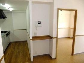 キッチンと電話台と洋室入口