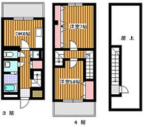 成増駅 バス11分「下新倉」徒歩3分3階Fの間取り画像
