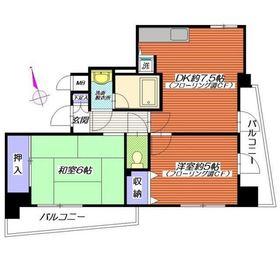 メルベイユ弘明寺6階Fの間取り画像