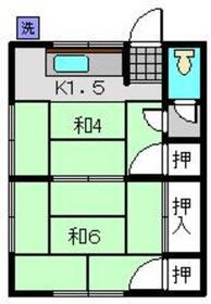 鈴鹿荘2階Fの間取り画像