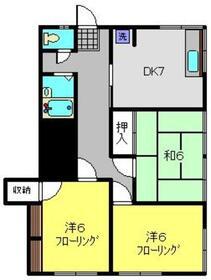ハイツオギシマ1階Fの間取り画像