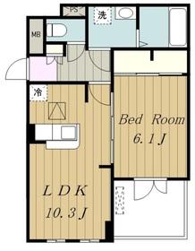 新磯野1丁目アパート1階Fの間取り画像