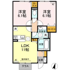 クレール A棟1階Fの間取り画像