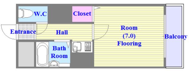 オーナーズマンション菱屋西 セパレートでリビングが広い単身さん向けの間取りです。