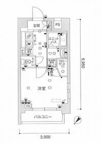 スカイコート月島9階Fの間取り画像