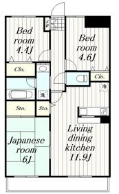 鶴間駅 徒歩12分2階Fの間取り画像