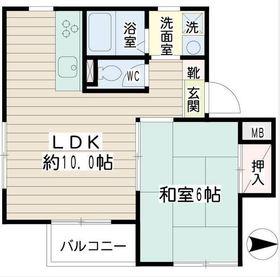 井土ヶ谷ドエル吉田1階Fの間取り画像