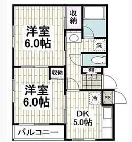 LAZ KAMINAGAYA2階Fの間取り画像