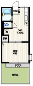 シティハイム 千駄ヶ谷1階Fの間取り画像