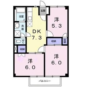 グランドハイツOGAWA2階Fの間取り画像