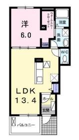 セレーノチェーロⅡ1階Fの間取り画像