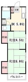 小俣コーポ2階Fの間取り画像