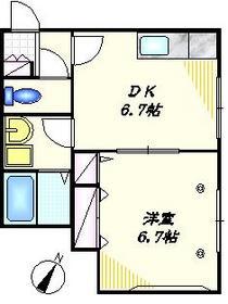 カーサ・イーリス2階Fの間取り画像