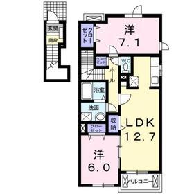 西八王子駅 バス21分「新清水橋」徒歩4分2階Fの間取り画像