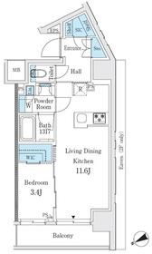 リビオメゾン御茶ノ水12階Fの間取り画像