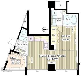 六本木エムケイアートレジデンス2階Fの間取り画像