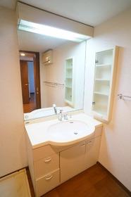 大きな鏡で身支度も楽々 収納棚もあって小物の整理もできますね