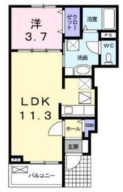 アマデウスハウス1階Fの間取り画像