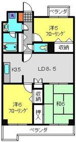 フジハイツ丸山台7階Fの間取り画像
