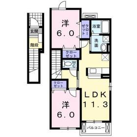 サン・メロウ A2階Fの間取り画像