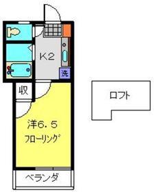 ハイツ万代2階Fの間取り画像