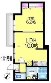 ラ・メール1階Fの間取り画像