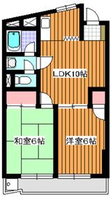 三高徳丸パークハイツ3階Fの間取り画像
