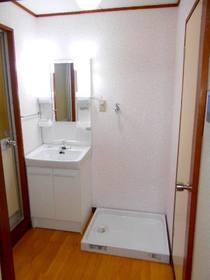洗面スペースにある洗面化粧台と洗濯機置場