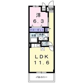 グランドリーフ4階Fの間取り画像