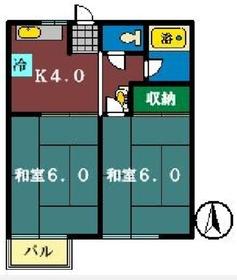 コーポミユキ1階Fの間取り画像