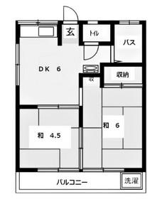 コーポ田中2階Fの間取り画像