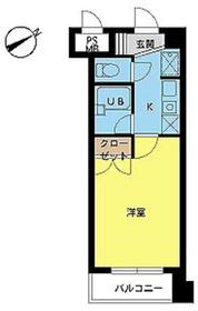スカイコート新宿新都心7階Fの間取り画像