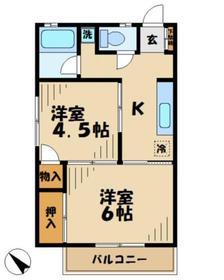 ハイツ金子2階Fの間取り画像